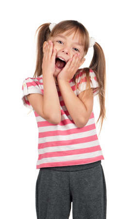 Surprise: Portrait of surprised little girl over white background Stock Photo