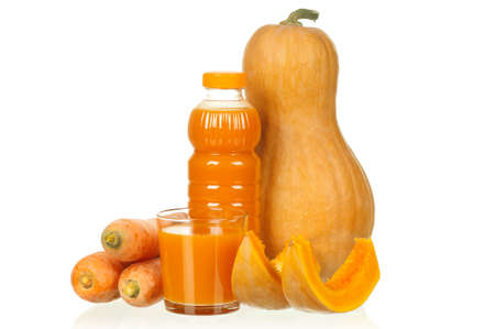 Fresh carrot and pumpkin juice isolated on white background photo
