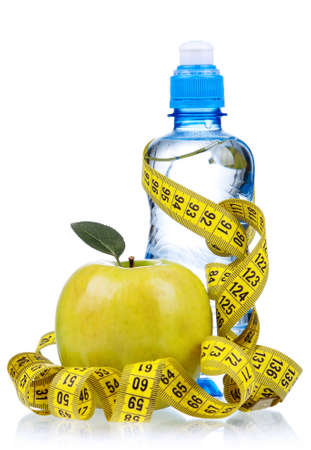 Bottled water for healthy life over a white background photo