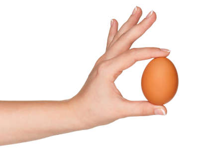 Woman hand with egg isolated on white background photo