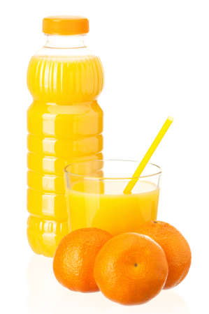 Mandarin juice in plastic bottle and mandarin fruits on white background Stock Photo - 12075601