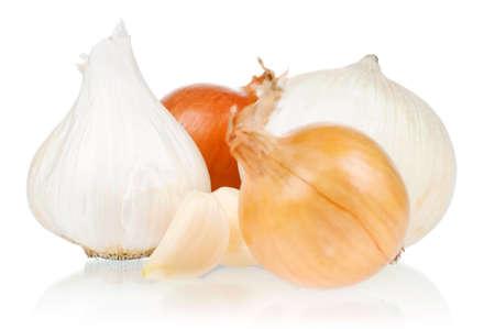 Fresh vegetables on white background - garlic, onion