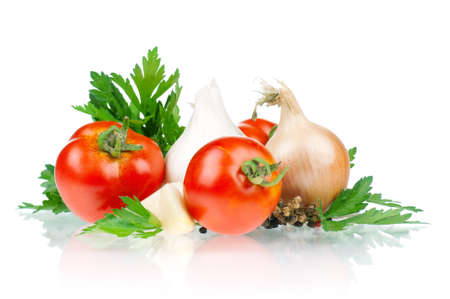 Fresh vegetables on white background - tomato, parsley, garlic, pepper, onion photo