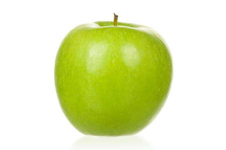 Fresh ripe green apple on white background photo