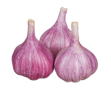 garnishing: Fresh young garlic isolated on white background
