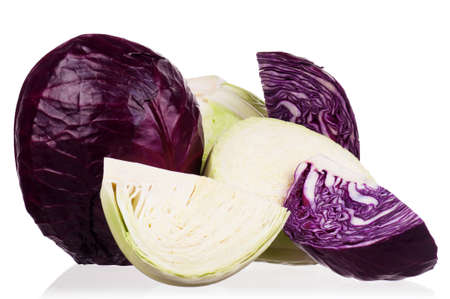 half stuff: Fresh green and red cabbage vegetable on white background