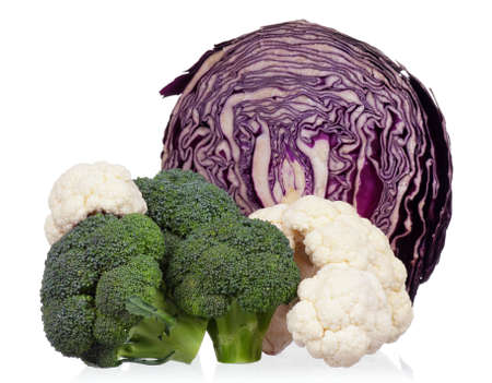 half stuff: Fresh green, red, broccoli, cauliflower and Chinese cabbage vegetables on white background
