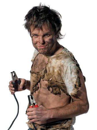 elektriciteit: Portret van grappige elektricien op zwarte achtergrond