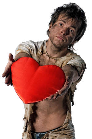 crazy man: Man burnt of love with heart over white background