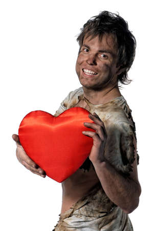 Man burnt of love with heart over white background Stock Photo - 12326026