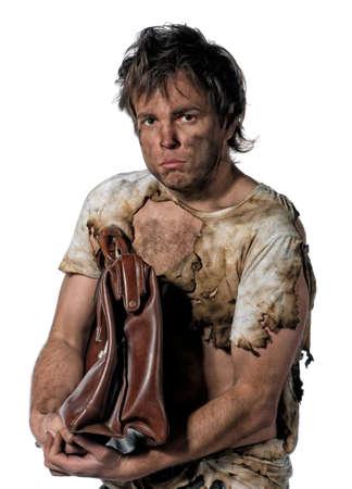 Portrait of homeless burnt man over white background Stock Photo - 12329517