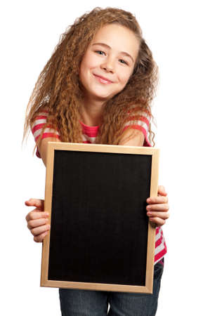 Portrait of girl with blackboard isolated on white background photo