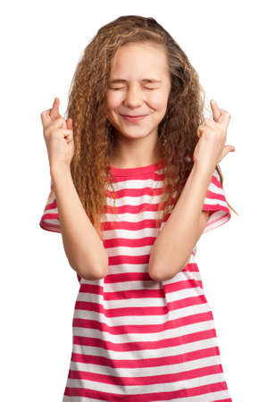 Portrait of superstitious girl isolated on white background Stock Photo - 12325939
