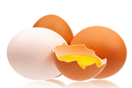 Fresh chicken eggs isolated on white background photo