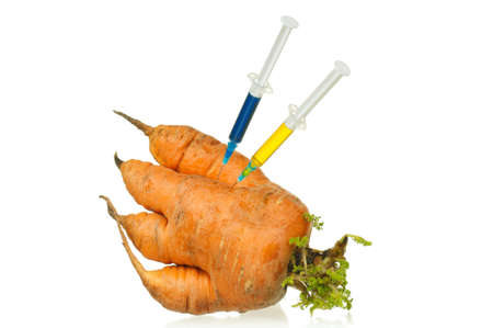 Genetically modified organism - ripe carrot with syringes and laboratory glassware on white background Stock Photo
