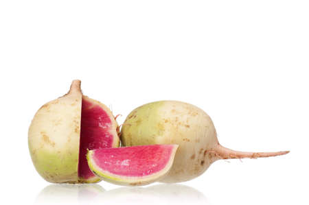 Sliced fresh radish isolated on white background photo
