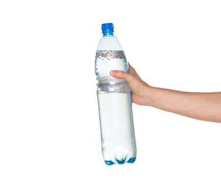 Woman hand with bottle of water isolated on white background photo