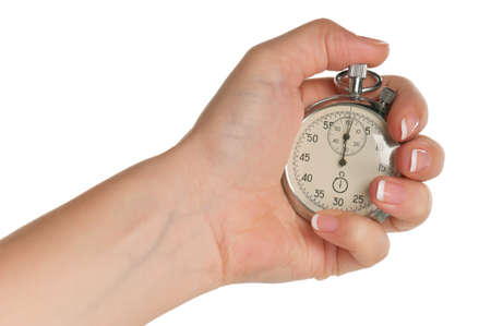 Woman hand with stopwatch isolated on white background Stock Photo