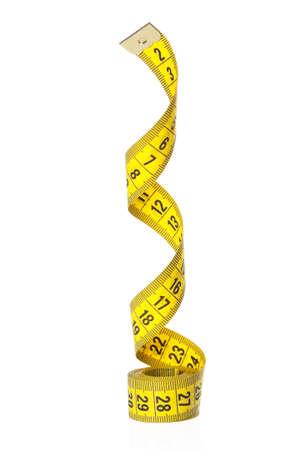 cinta de medir: Cinta métrica de sastre sobre el fondo blanco