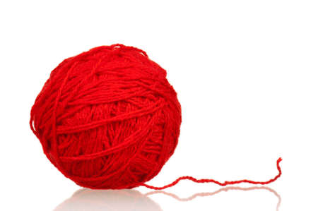 weave ball: Red ball of yarn for knitting isolated on white background Stock Photo
