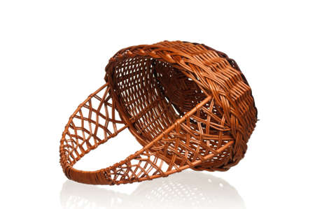 Empty wicker basket isolated on white background Stock Photo - 12562293