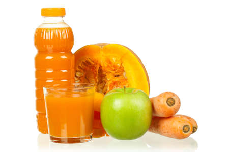 Fresh carrot, pumpkin and apple juice isolated on white background Stock Photo - 12561996