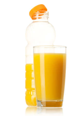 Orange juice in plastic bottle and glass on white background Stock Photo - 12562058