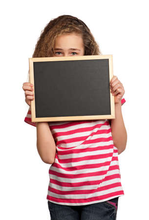 Portrait of girl with blackboard isolated on white background Stock Photo - 12561839