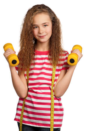Portrait of girl with dumbbells isolated on white background