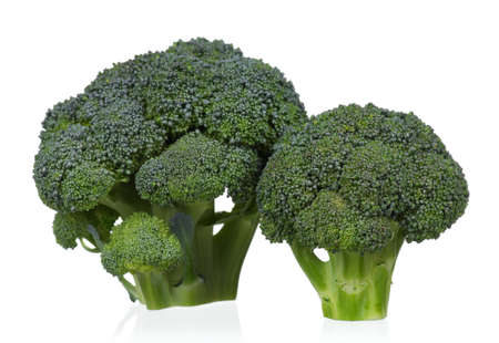 raw food: Fresh ripe broccoli piece on white background
