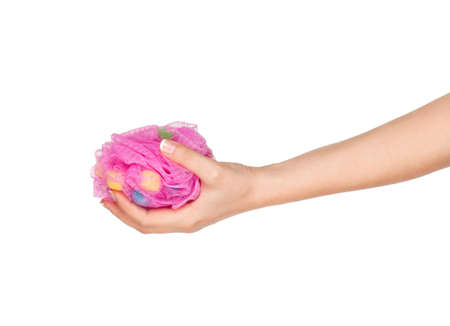 Woman hand with bath sponge isolated on white background Stock Photo - 12562069