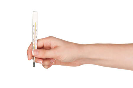 Woman hand with thermometer isolated on white background photo