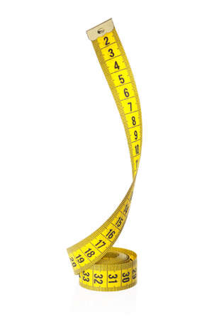 tape line: Measuring tape of the tailor over white background Stock Photo