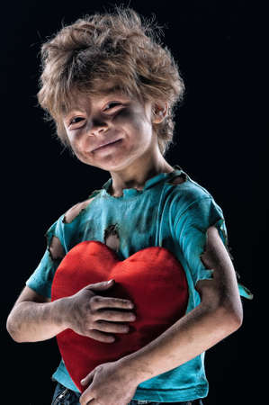 Boy burnt of love with heart over white background Stock Photo - 12561765