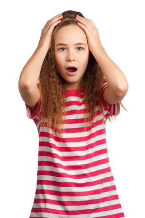 Portrait of surprised girl isolated on white background photo