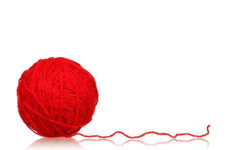 clew: Red ball of yarn for knitting isolated on white background Stock Photo