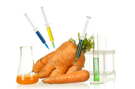analytical chemistry: Genetically modified organism - ripe carrot with syringes and laboratory glassware on white background Stock Photo