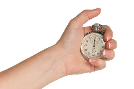 timer: Woman hand with stopwatch isolated on white background Stock Photo
