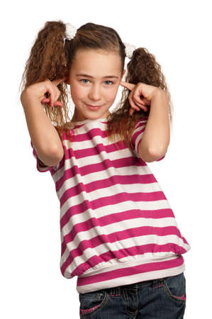 Hear no evil - portrait of girl isolated on white background photo