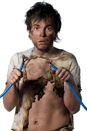 electrocute: Portrait of crazy electrician over white background