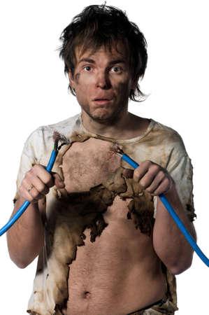 electric shock: Retrato de un electricista loco sobre fondo blanco Foto de archivo