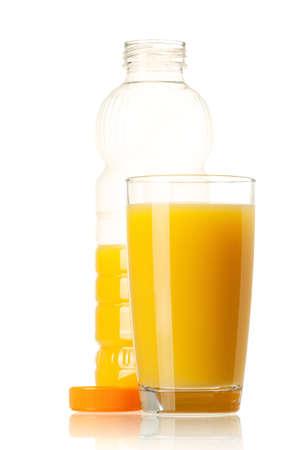 Orange juice in plastic bottle and glass on white background Stock Photo - 12696173