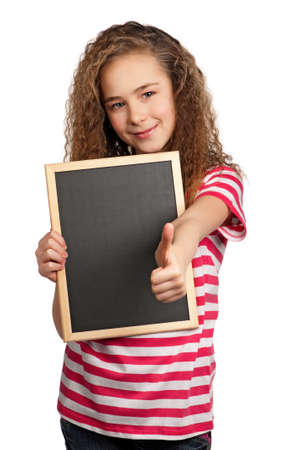 teenagers school: Portrait of girl with blackboard isolated on white background
