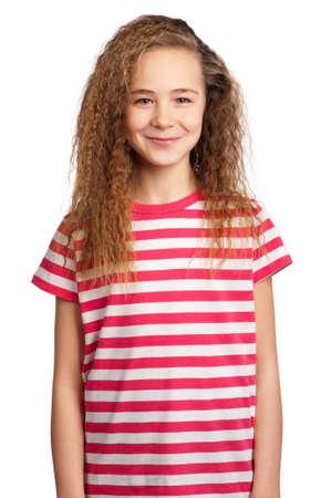 Portrait of happy girl isolated on white background photo