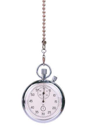 Close-up de la vieja cronómetro aisladas sobre fondo blanco