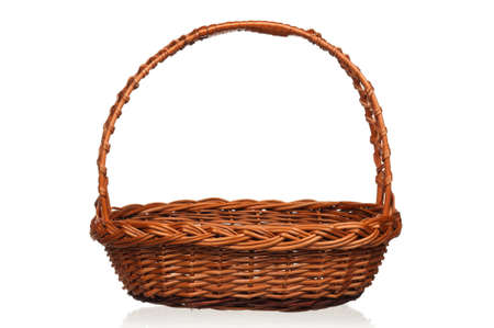 Empty wicker basket isolated on white background Stock Photo - 12696224