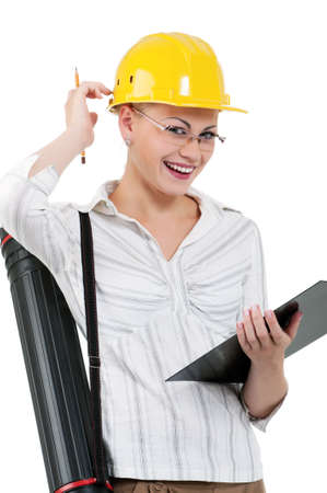 Portrait of attractive architect girl with hard hat - isolated on white background Stock Photo - 12901098
