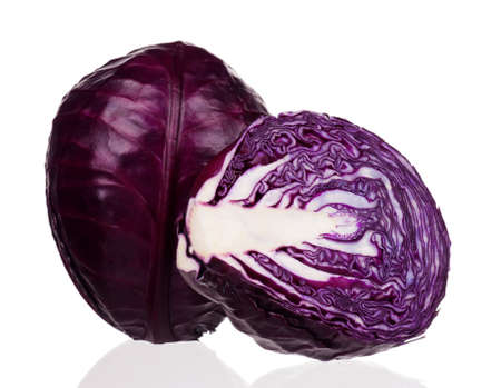 brassica: Fresh red cabbage vegetable on white background