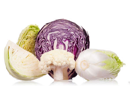 half stuff: Fresh green, red, cauliflower and Chinese cabbage vegetables on white background Stock Photo