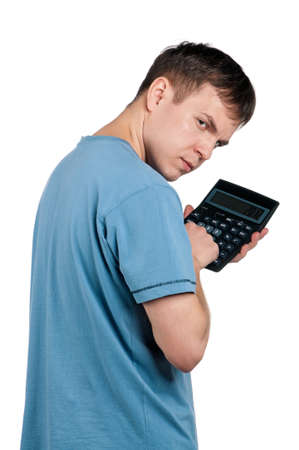 Portrait of man with calculator on isolated white background photo